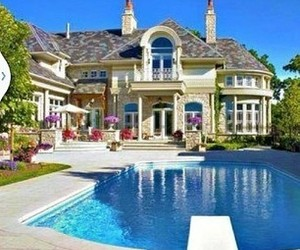 beautiful, garden, and mansion image