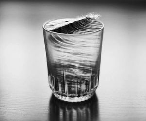 water, glass, and black and white image