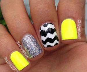 nails, glitter, and yellow image