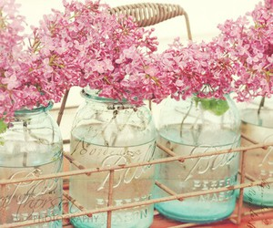 flowers, pink, and jar image
