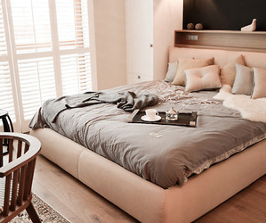 bed, home, and bedroom image