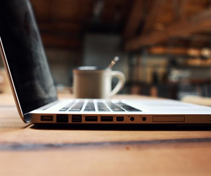 coffee, laptop, and apple image