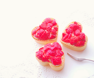 strawberry, heart, and food image