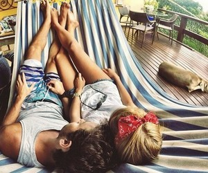 blonde, couple, and hammock image