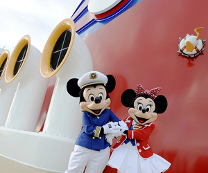 captain, mickey mouse, and minnie mouse image