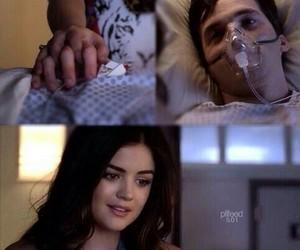 ezra, aria, and hospital image