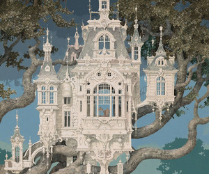 art, castle, and white image