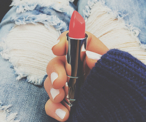 lipstick, jeans, and nails image