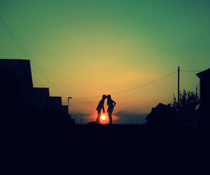 love, kiss, and sunset image