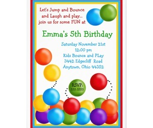 birthday invitations, bounce house, and quality product ball pit image