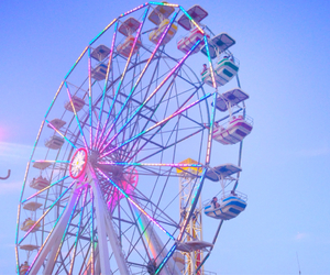 ferris wheel, pastel, and blue image