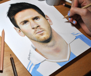 messi, drawing, and love image