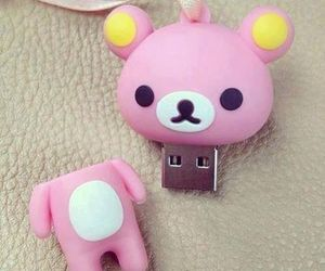 cute, pink, and bear image