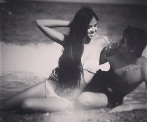 beauty, couple, and waves image