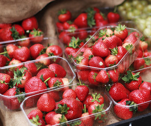 strawberry, food, and organic image