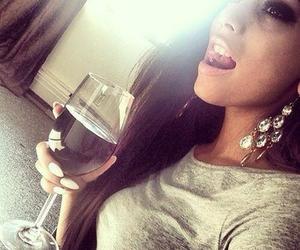 girl, drink, and brunette image