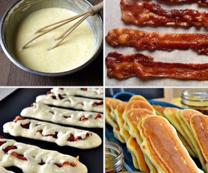 bacon, food, and pancakes image