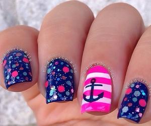 nails, pink, and anchor image