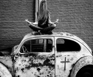 girl, car, and cross image