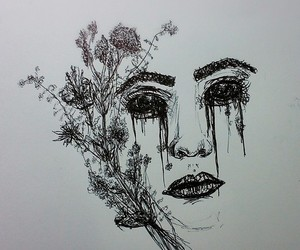 cry, flowers, and drawing image