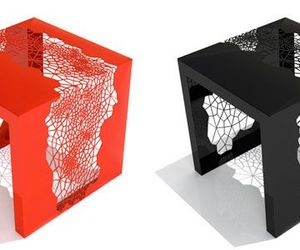 Furniture. Creativity Design Narrow Bedside Table Good Picture Designs: The Unique Table Designs Red Black Color Square Shaped Small Design Size Two Unique Simple Think Good Picture Nice Two Pictures Well ~ Mycavuto