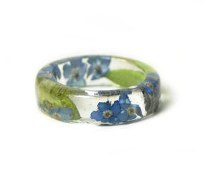 blue flowers, forget me nots, and resin jewelry image