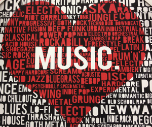 music, red, and black and white image