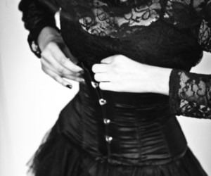black and white, black, and corset image
