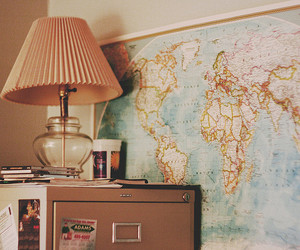 map, vintage, and lamp image