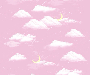 pink, moon, and clouds image