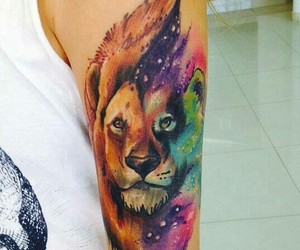 tattoo, lion, and watercolor image