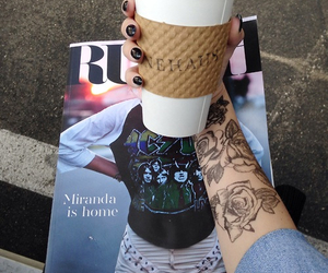 tattoo, coffee, and magazine image