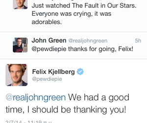 john green, pewdiepie, and the fault in our stars image