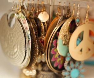 earrings, peace, and accessories image