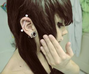girl, piercing, and Plugs image