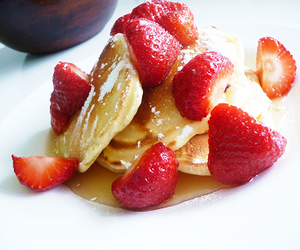 food, honey, and pancakes image