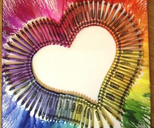 art, heart, and crayon image