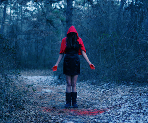 girl, red, and forest image