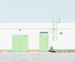 green, white, and building image