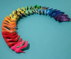 shoes, rainbow, and heels image