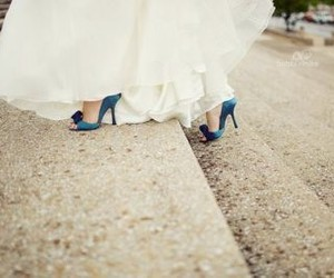 blue, shoes, and bride image