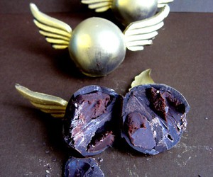chocolate, golden snitch, and food image