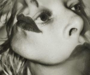 black and white, photo manipulation, and portrait image