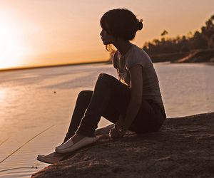 girl and sunset image