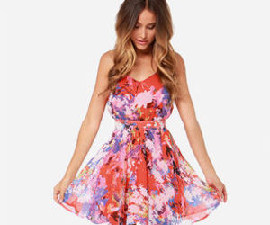 coral, dress, and floral image