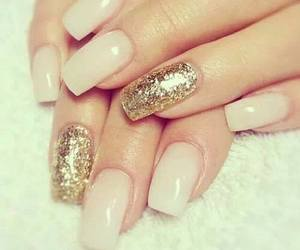 nails, gold, and glitter image