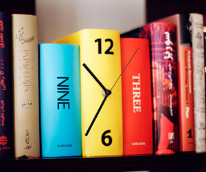 book, clock, and cool image