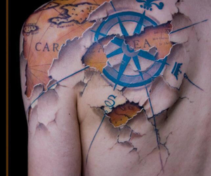 tattoo, map tattoo, and travel tattoo image
