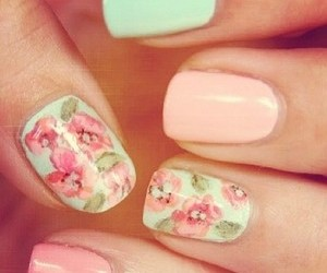 nails, pink, and floral image