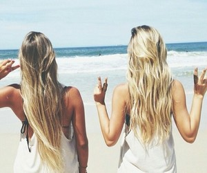 best friends, pretty, and beach image